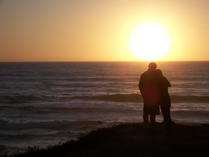 couple at Half Moon Bay sunset